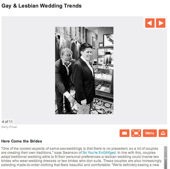 A photo from Lauren's suit fitting was featured on AOL's Aisle Dash article ...