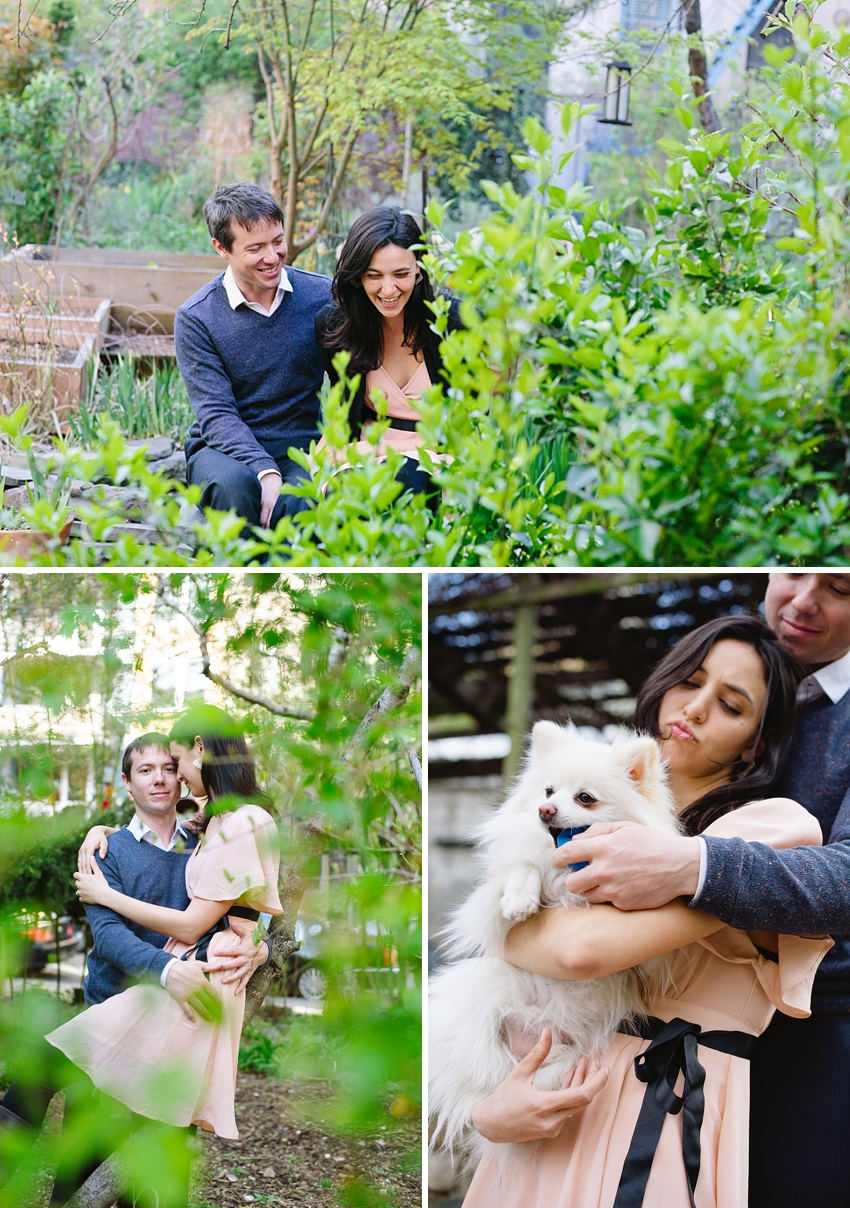 east village engagement session with dog