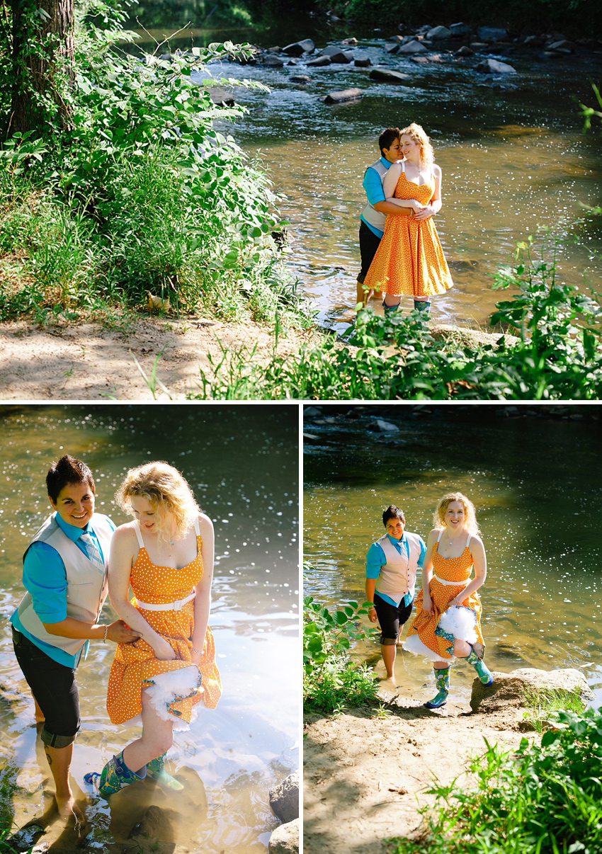 rock creek park engagement session with rainboots