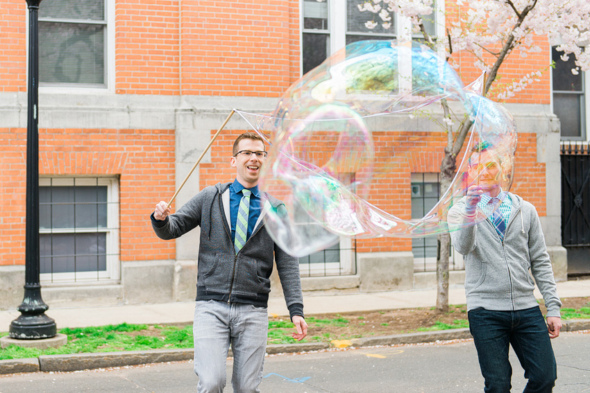 engagement session with bubbles