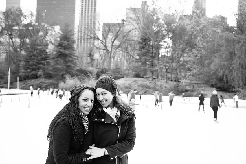 central park engagement in front of wollman rink