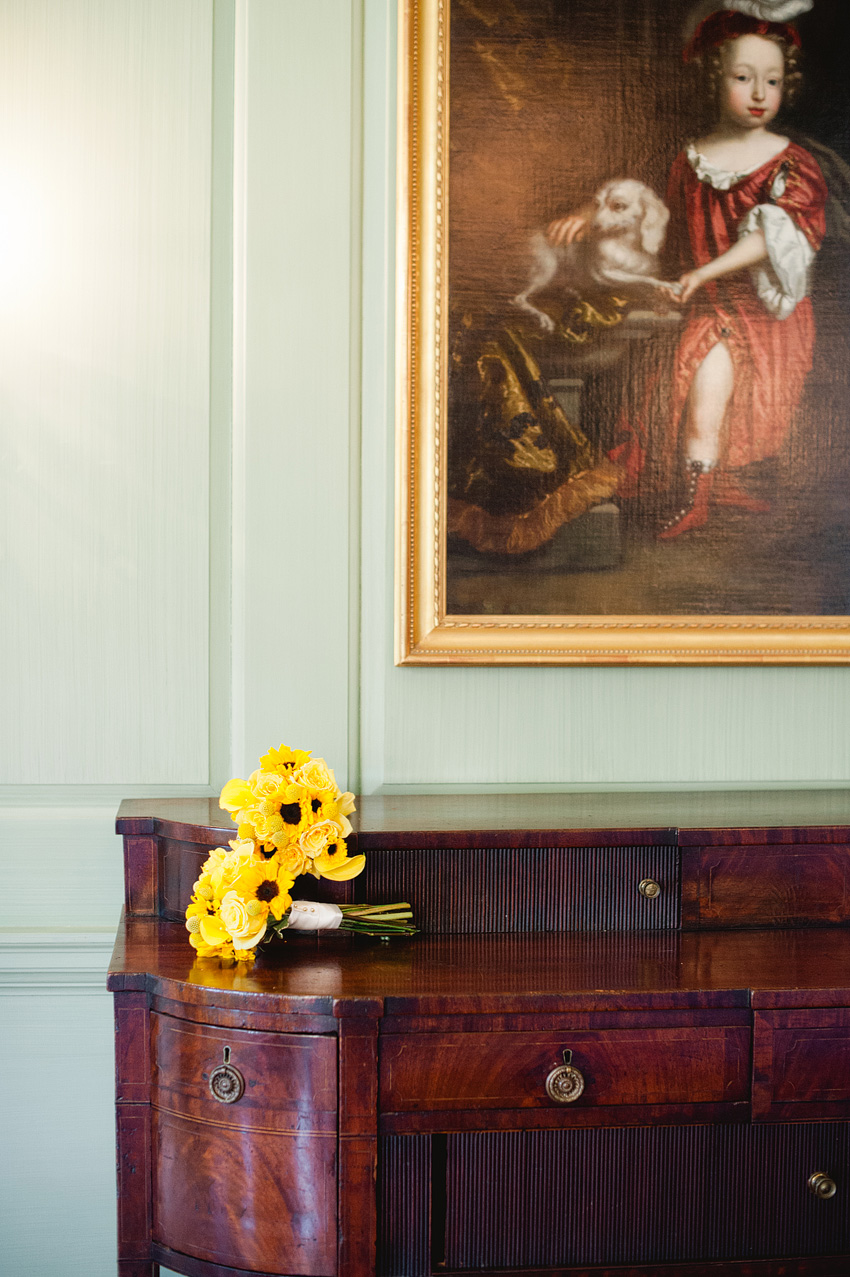 sunflower bouquet on table at crane estate