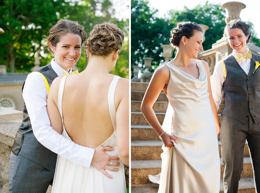 lesbian couple embracing at wedding