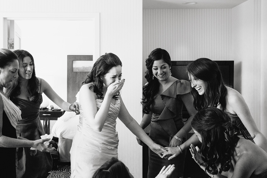 bride bonding with sisters