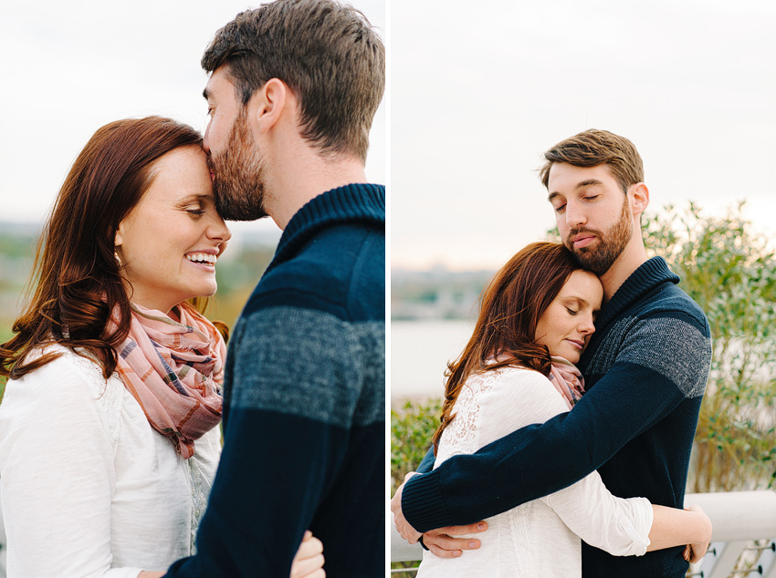 couple in front of fall leaves for dc engagement